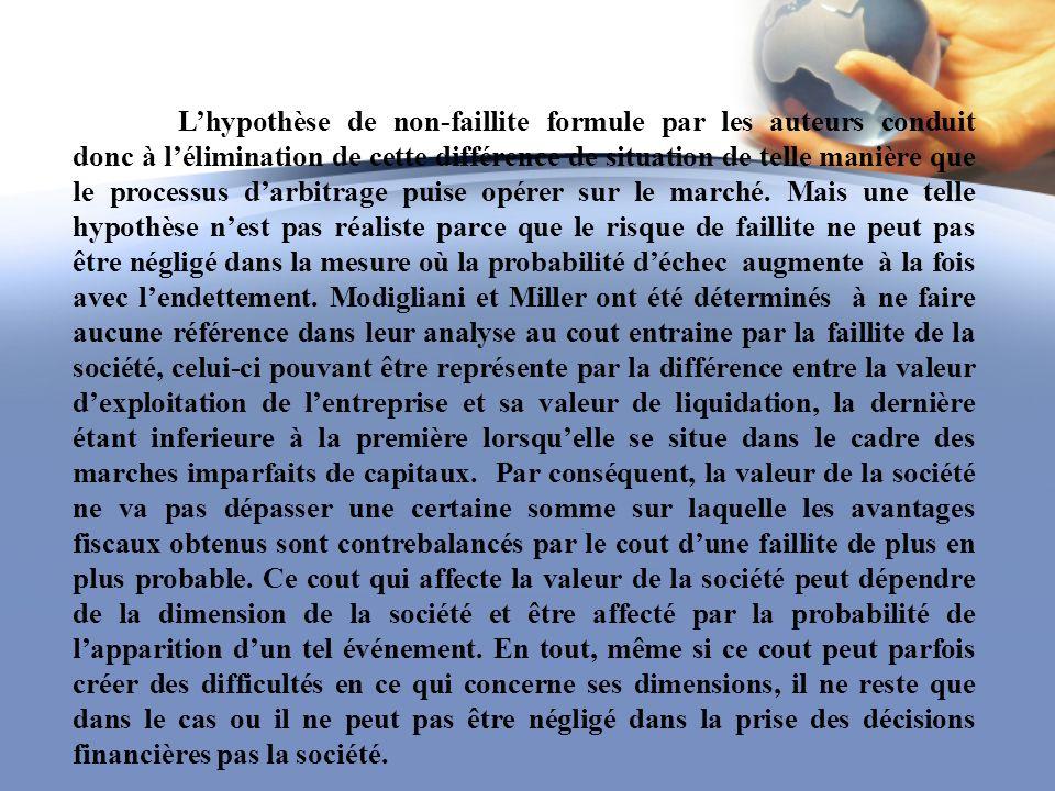 Lhypothèse de non-faillite formule par les auteurs conduit donc à lélimination de cette différence de situation de telle manière que le processus darb