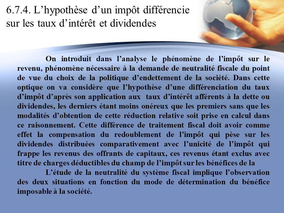 6.7.4. Lhypothèse dun impôt différencie sur les taux dintérêt et dividendes On introduit dans lanalyse le phénomène de limpôt sur le revenu, phénomène