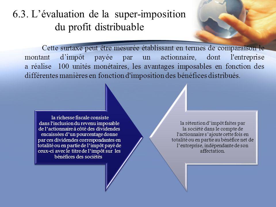 6.3. Lévaluation de la super-imposition du profit distribuable Cette surtaxe peut être mesurée établissant en termes de comparaison le montant dimpôt