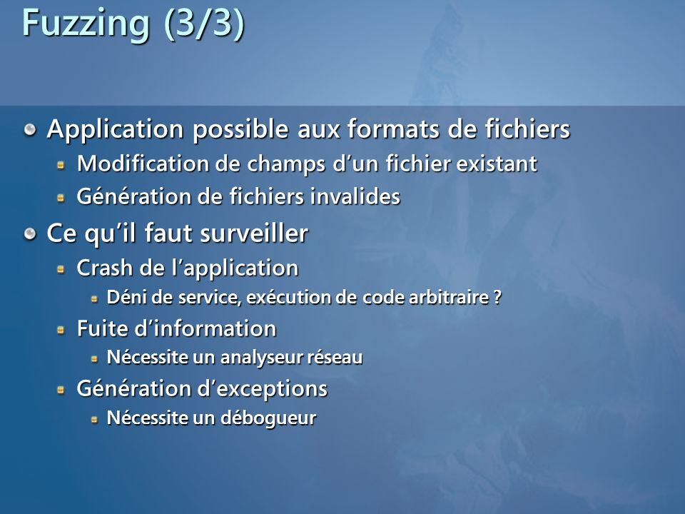 Fuzzing (3/3) Application possible aux formats de fichiers Modification de champs dun fichier existant Génération de fichiers invalides Ce quil faut surveiller Crash de lapplication Déni de service, exécution de code arbitraire .