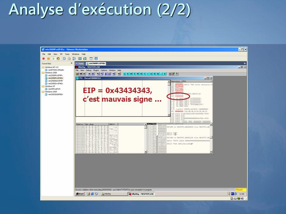 Analyse dexécution (2/2) EIP = 0x43434343, cest mauvais signe …
