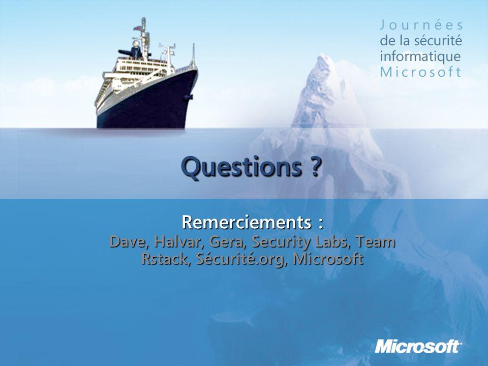 Questions ? Remerciements : Dave, Halvar, Gera, Security Labs, Team Rstack, Sécurité.org, Microsoft