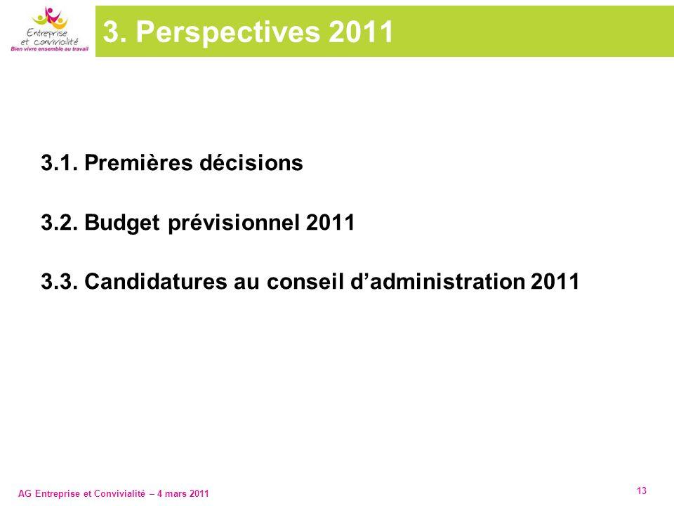 AG Entreprise et Convivialité – 4 mars 2011 13 3. Perspectives 2011 3.1. Premières décisions 3.2. Budget prévisionnel 2011 3.3. Candidatures au consei