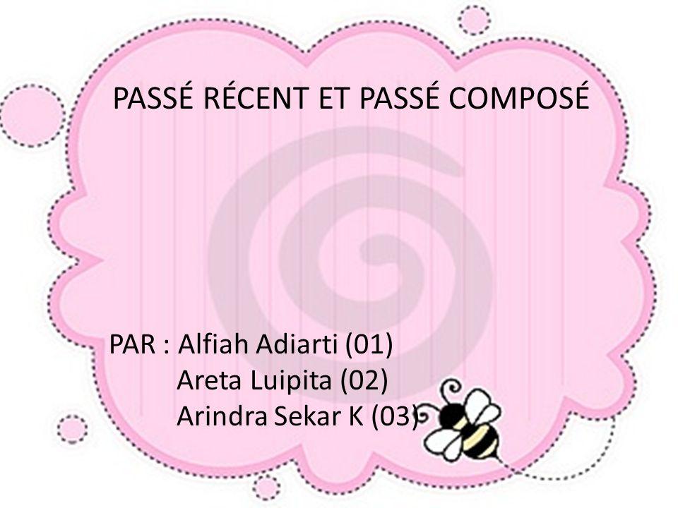 PASSÉ RÉCENT ET PASSÉ COMPOSÉ PAR : Alfiah Adiarti (01) Areta Luipita (02) Arindra Sekar K (03)