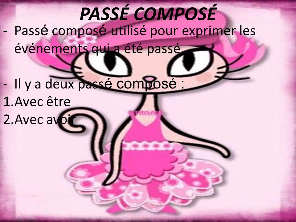 PASSÉ COMPOSÉ - Pass é compos é utilisé pour exprimer les événements qui a été passé. -Il y a deux pass é composé : 1.Avec être 2.Avec avoir