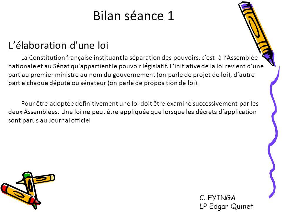 Bilan séance 1 Lélaboration dune loi La Constitution française instituant la séparation des pouvoirs, cest à lAssemblée nationale et au Sénat quappart