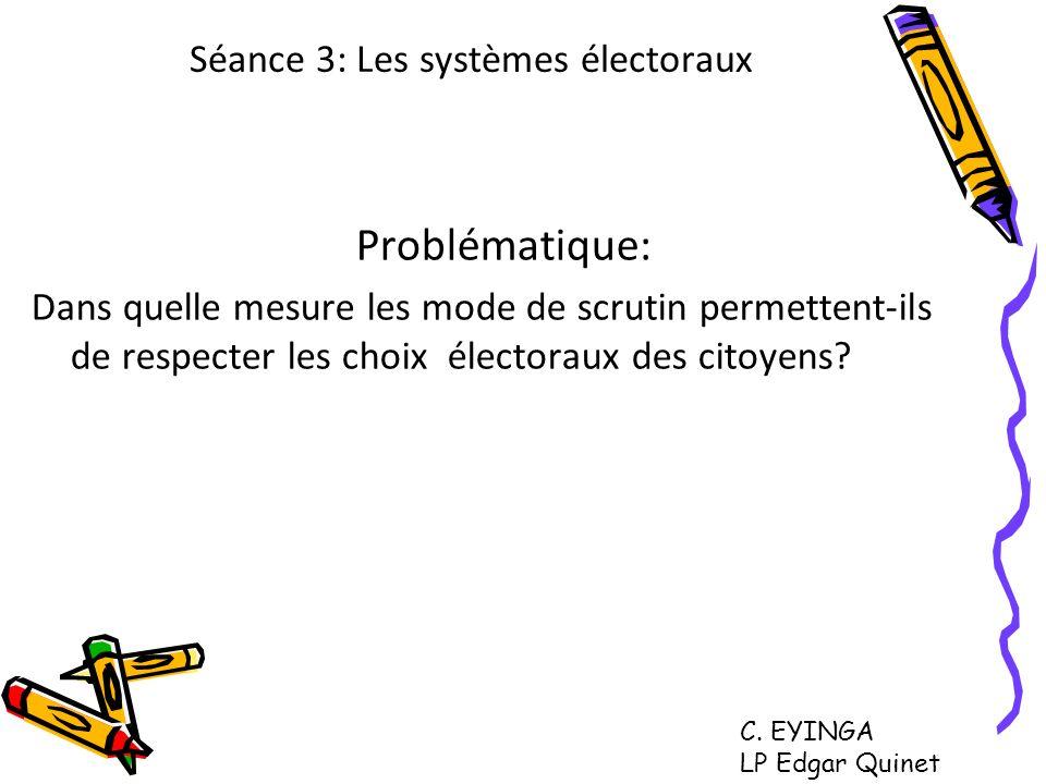 Séance 3: Les systèmes électoraux Problématique: Dans quelle mesure les mode de scrutin permettent-ils de respecter les choix électoraux des citoyens?