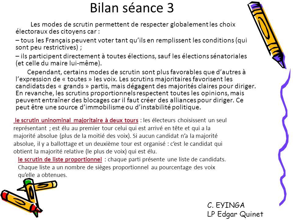 Bilan séance 3 Les modes de scrutin permettent de respecter globalement les choix électoraux des citoyens car : – tous les Français peuvent voter tant
