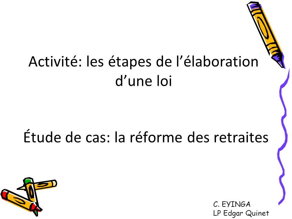 Activité: les étapes de lélaboration dune loi Étude de cas: la réforme des retraites C. EYINGA LP Edgar Quinet