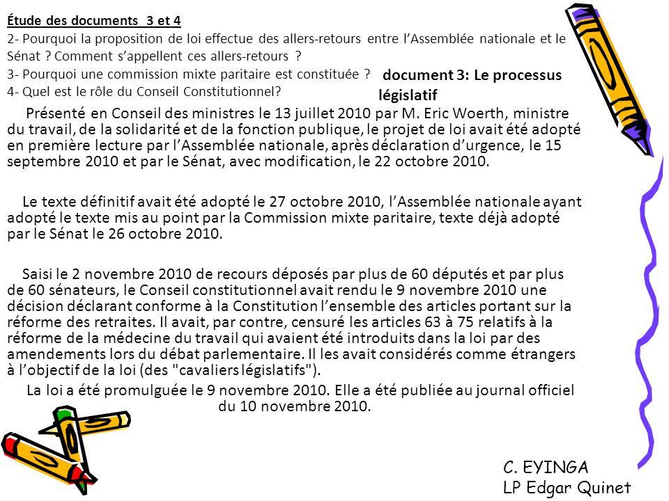 Étude des documents 3 et 4 2- Pourquoi la proposition de loi effectue des allers-retours entre lAssemblée nationale et le Sénat ? Comment sappellent c