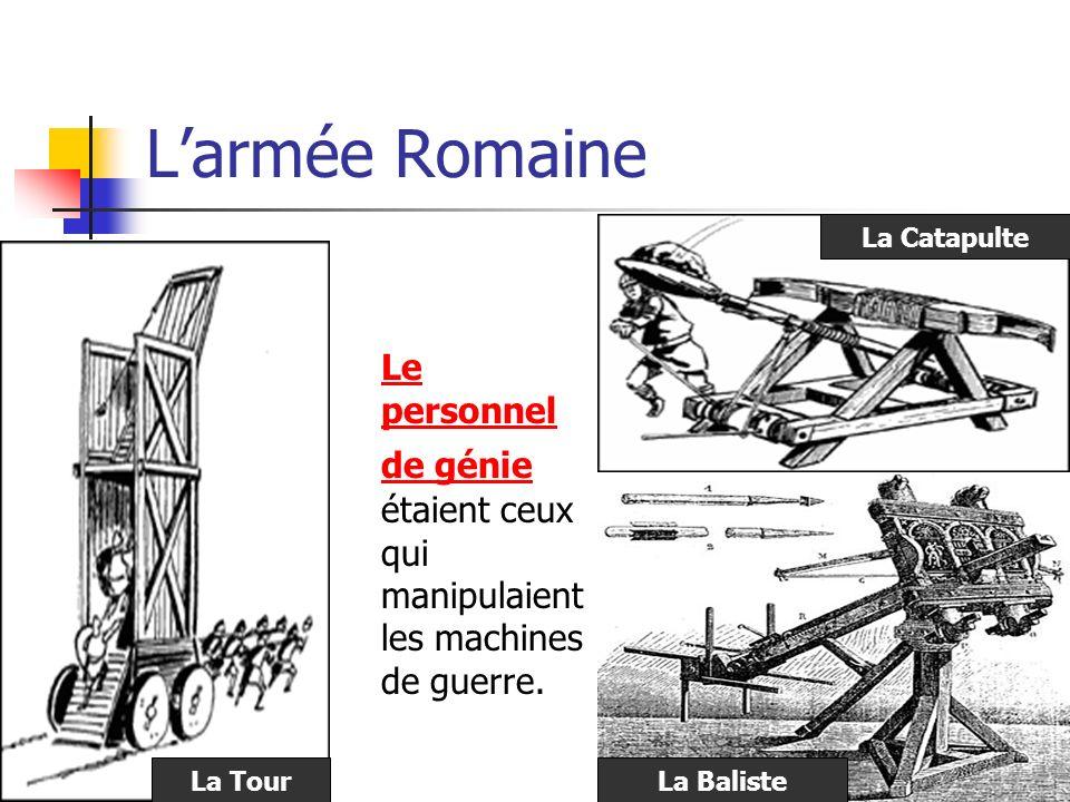 Larmée Romaine Le personnel de génie étaient ceux qui manipulaient les machines de guerre. La Tour La Catapulte La Baliste