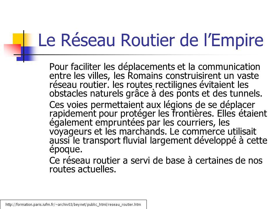 Le Réseau Routier de lEmpire Pour faciliter les déplacements et la communication entre les villes, les Romains construisirent un vaste réseau routier.