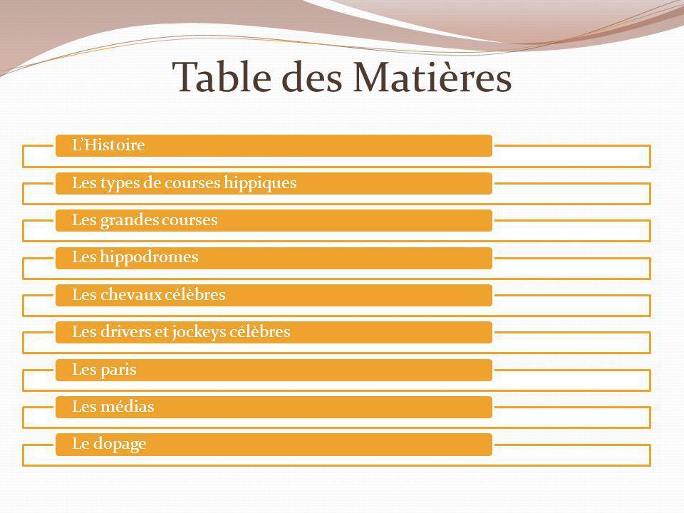 Table des Matières LHistoireLes types de courses hippiquesLes grandes coursesLes hippodromesLes chevaux célèbresLes drivers et jockeys célèbresLes par