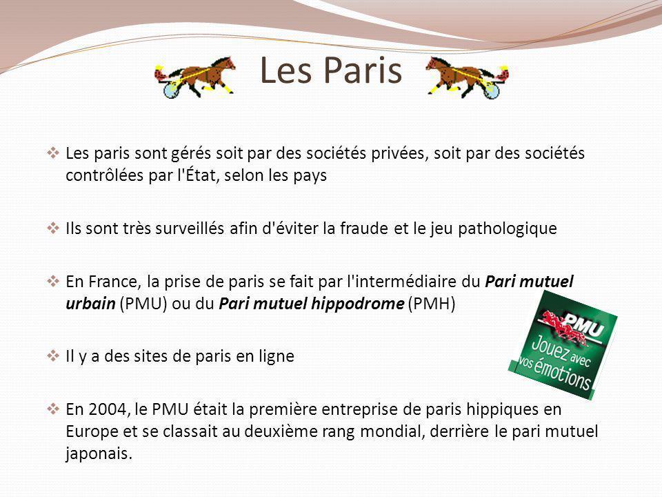 Les Paris Les paris sont gérés soit par des sociétés privées, soit par des sociétés contrôlées par l'État, selon les pays Ils sont très surveillés afi