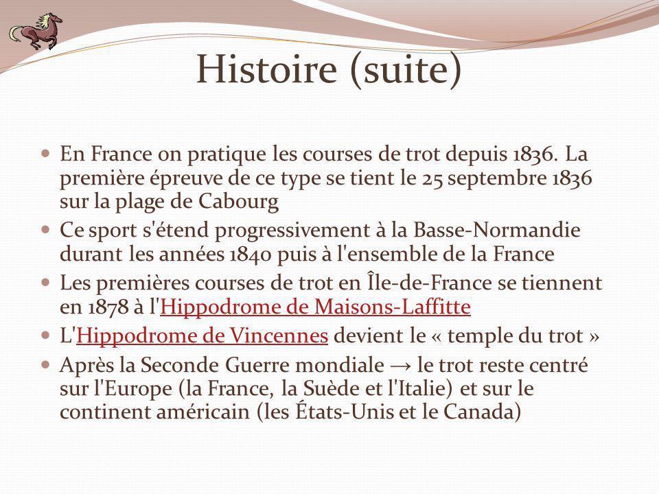 Histoire (suite) En France on pratique les courses de trot depuis 1836. La première épreuve de ce type se tient le 25 septembre 1836 sur la plage de C