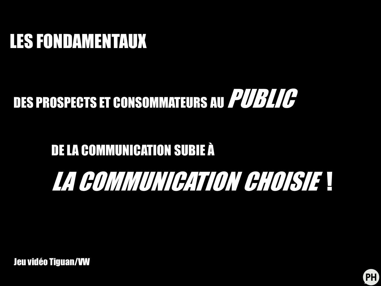 DES PROSPECTS ET CONSOMMATEURS AU PUBLIC DE LA COMMUNICATION SUBIE À LA COMMUNICATION CHOISIE ! Jeu vidéo Tiguan/VW LES FONDAMENTAUX