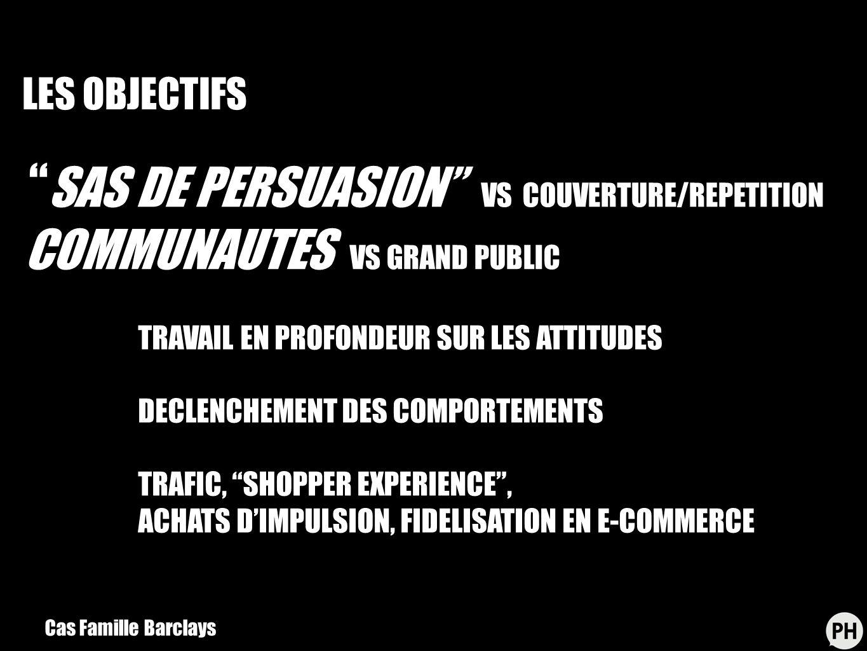 SAS DE PERSUASION VS COUVERTURE/REPETITION COMMUNAUTES VS GRAND PUBLIC TRAVAIL EN PROFONDEUR SUR LES ATTITUDES DECLENCHEMENT DES COMPORTEMENTS TRAFIC, SHOPPER EXPERIENCE, ACHATS DIMPULSION, FIDELISATION EN E-COMMERCE Cas Famille Barclays LES OBJECTIFS