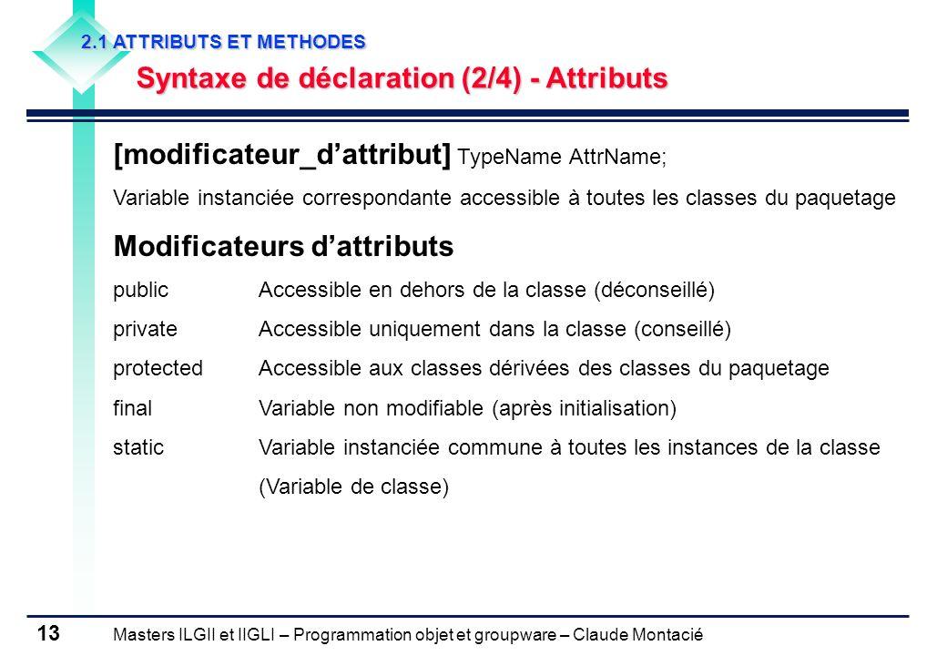 Masters ILGII et IIGLI – Programmation objet et groupware – Claude Montacié 13 2.1 ATTRIBUTS ET METHODES Syntaxe de déclaration (2/4) - Attributs [mod
