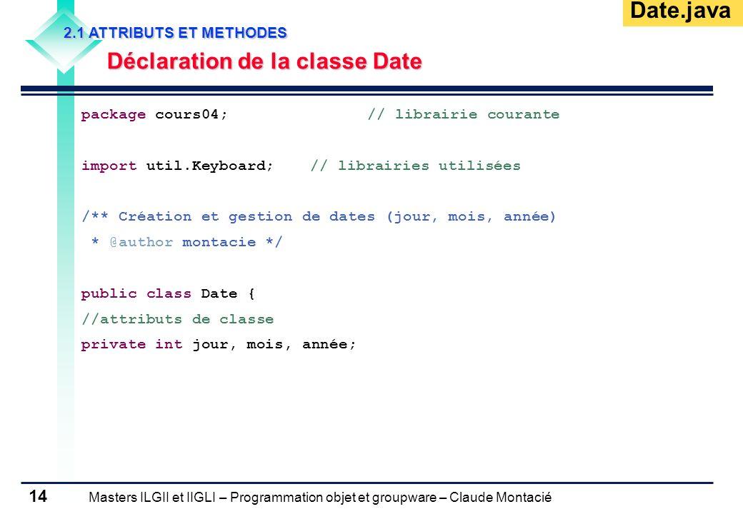 Masters ILGII et IIGLI – Programmation objet et groupware – Claude Montacié 14 2.1 ATTRIBUTS ET METHODES Déclaration de la classe Date package cours04