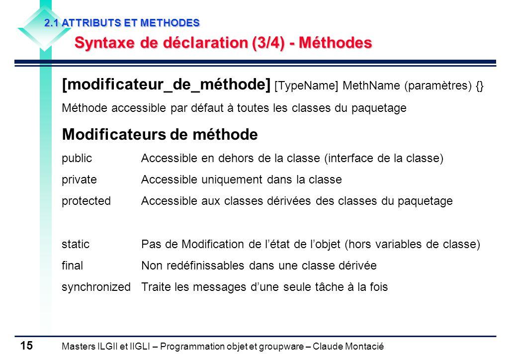 Masters ILGII et IIGLI – Programmation objet et groupware – Claude Montacié 15 2.1 ATTRIBUTS ET METHODES Syntaxe de déclaration (3/4) - Méthodes [modi