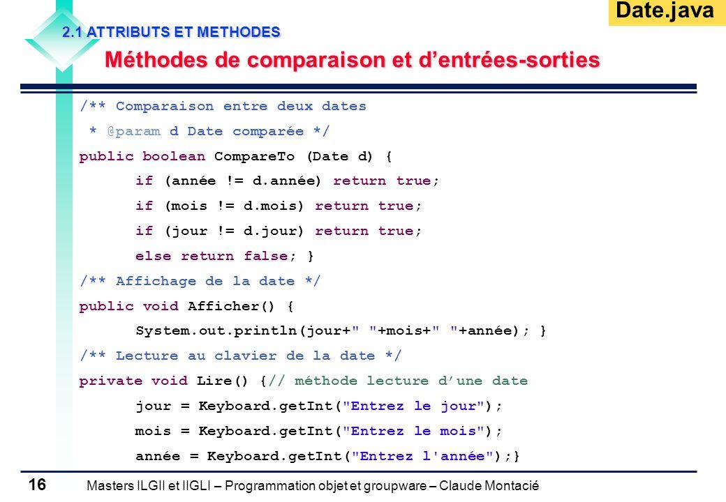 Masters ILGII et IIGLI – Programmation objet et groupware – Claude Montacié 16 2.1 ATTRIBUTS ET METHODES Méthodes de comparaison et dentrées-sorties /