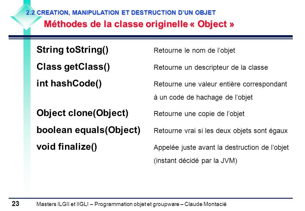 Masters ILGII et IIGLI – Programmation objet et groupware – Claude Montacié 23 2.2 CREATION, MANIPULATION ET DESTRUCTION DUN OBJET Méthodes de la clas