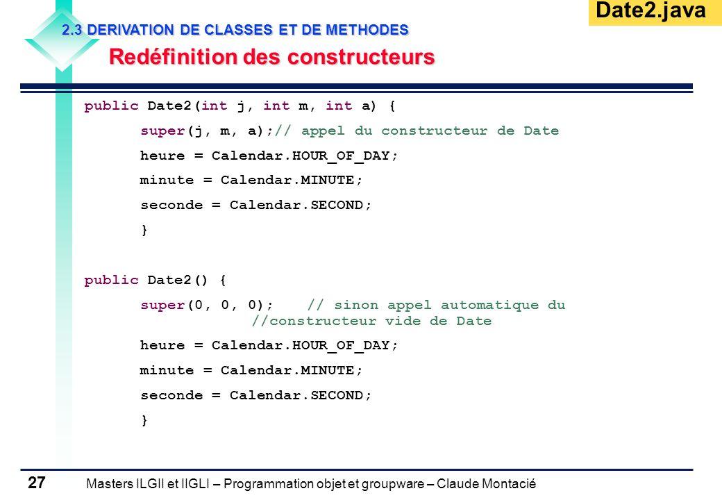 Masters ILGII et IIGLI – Programmation objet et groupware – Claude Montacié 27 2.3 DERIVATION DE CLASSES ET DE METHODES Redéfinition des constructeurs