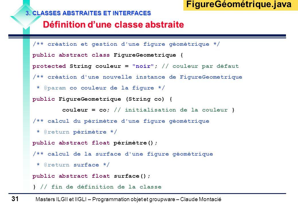 Masters ILGII et IIGLI – Programmation objet et groupware – Claude Montacié 31 3. CLASSES ABSTRAITES ET INTERFACES Définition dune classe abstraite /*