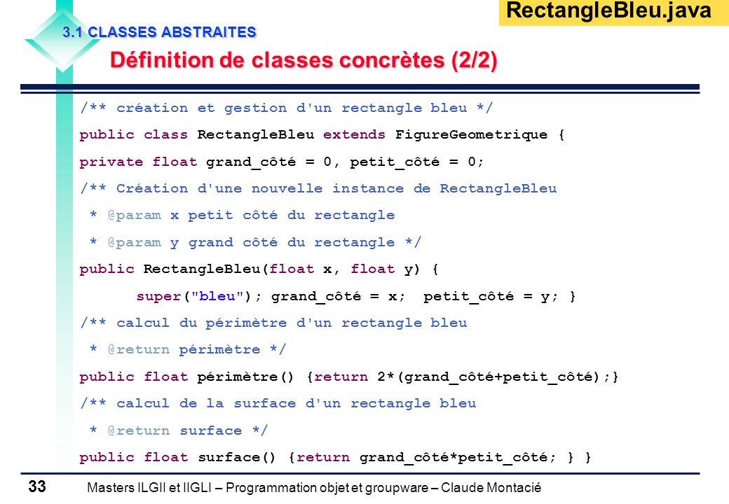 Masters ILGII et IIGLI – Programmation objet et groupware – Claude Montacié 33 3.1 CLASSES ABSTRAITES Définition de classes concrètes (2/2) Définition