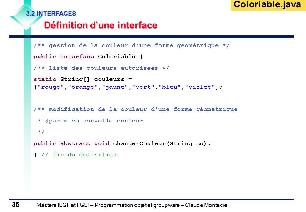Masters ILGII et IIGLI – Programmation objet et groupware – Claude Montacié 35 3.2 INTERFACES Définition dune interface /** gestion de la couleur d'un