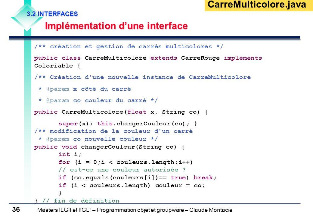 Masters ILGII et IIGLI – Programmation objet et groupware – Claude Montacié 36 3.2 INTERFACES Implémentation dune interface /** création et gestion de