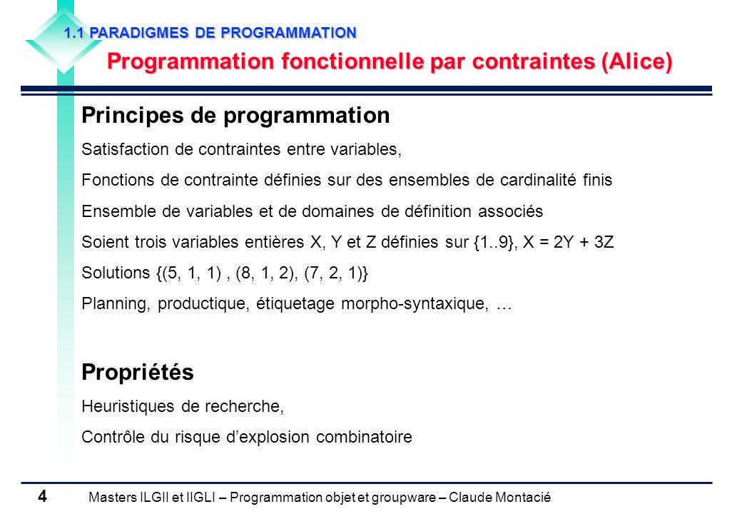 Masters ILGII et IIGLI – Programmation objet et groupware – Claude Montacié 5 1.1 PARADIGMES DE PROGRAMMATION Programmation impérative (Fortran) Principes de programmation Modifications successives de létat global (mémoire) de la machine par une suite de commandes, Détermination des données nécessaires au calcul, Association des emplacements mémoires aux données, Description des transformations à appliquer aux données Instruction principale: affectation (x = 1; x = x+1) boucles: while, repeat Propriétés Plus algorithmique, plus proche du comportement dun ordinateur, Pas de preuve du bon fonctionnement, Effets de bord sur les variables du programme (visibilité)