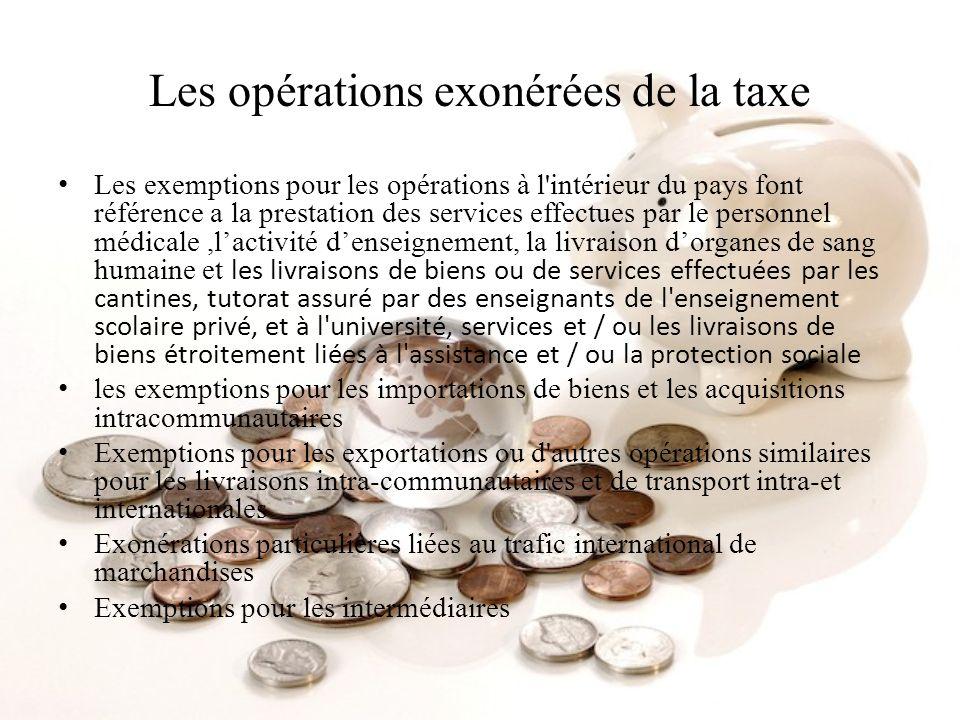 Les opérations exonérées de la taxe Les exemptions pour les opérations à l'intérieur du pays font référence a la prestation des services effectues par