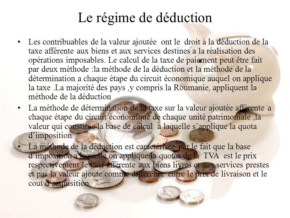 Le régime de déduction Les contribuables de la valeur ajoutée ont le droit à la déduction de la taxe afférente aux biens et aux services destines a la