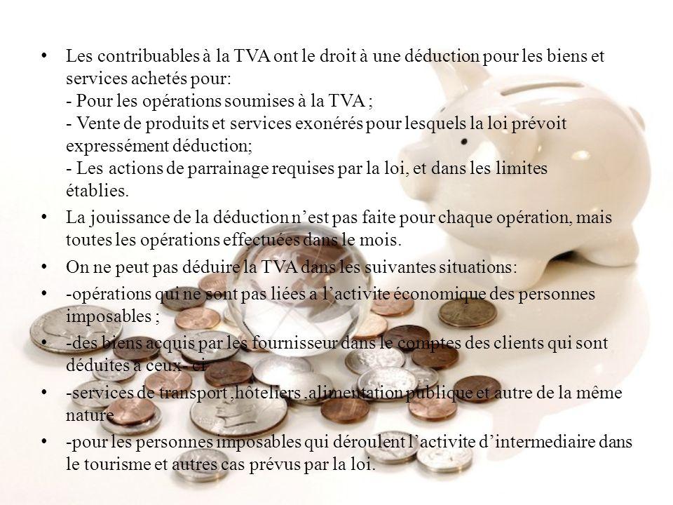 Les contribuables à la TVA ont le droit à une déduction pour les biens et services achetés pour: - Pour les opérations soumises à la TVA ; - Vente de