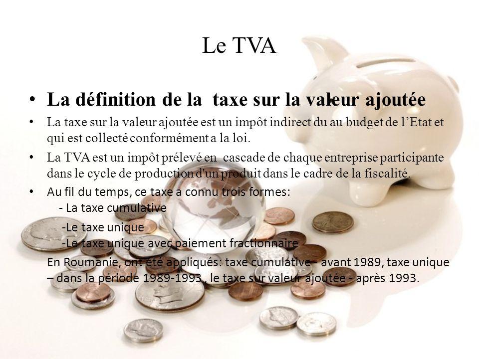 Le TVA La définition de la taxe sur la valeur ajoutée La taxe sur la valeur ajoutée est un impôt indirect du au budget de lEtat et qui est collecté co