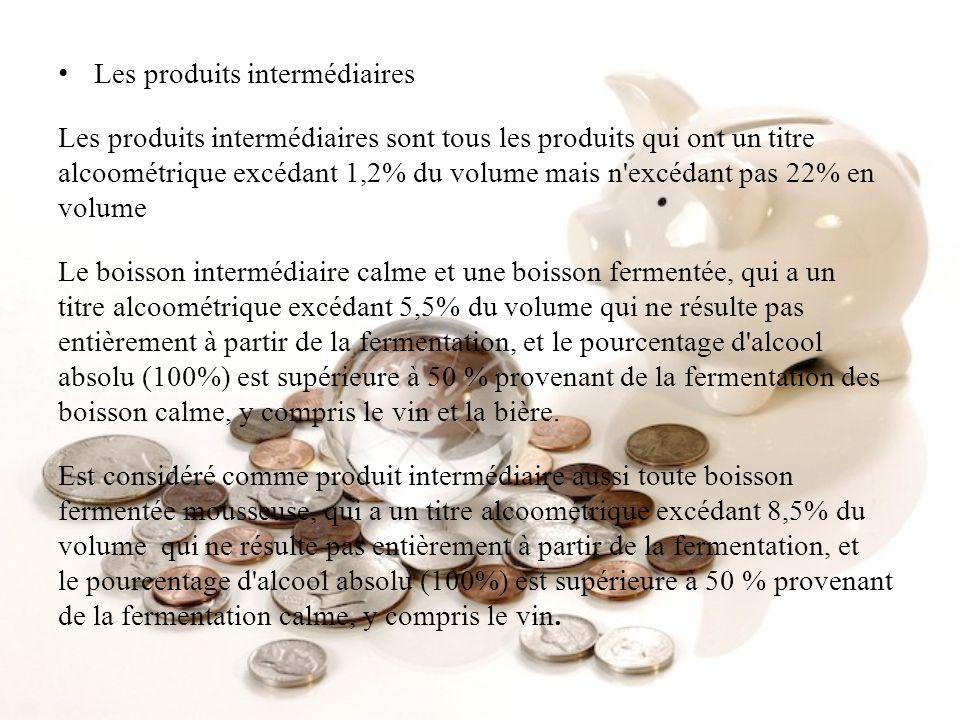 Les produits intermédiaires Les produits intermédiaires sont tous les produits qui ont un titre alcoométrique excédant 1,2% du volume mais n'excédant