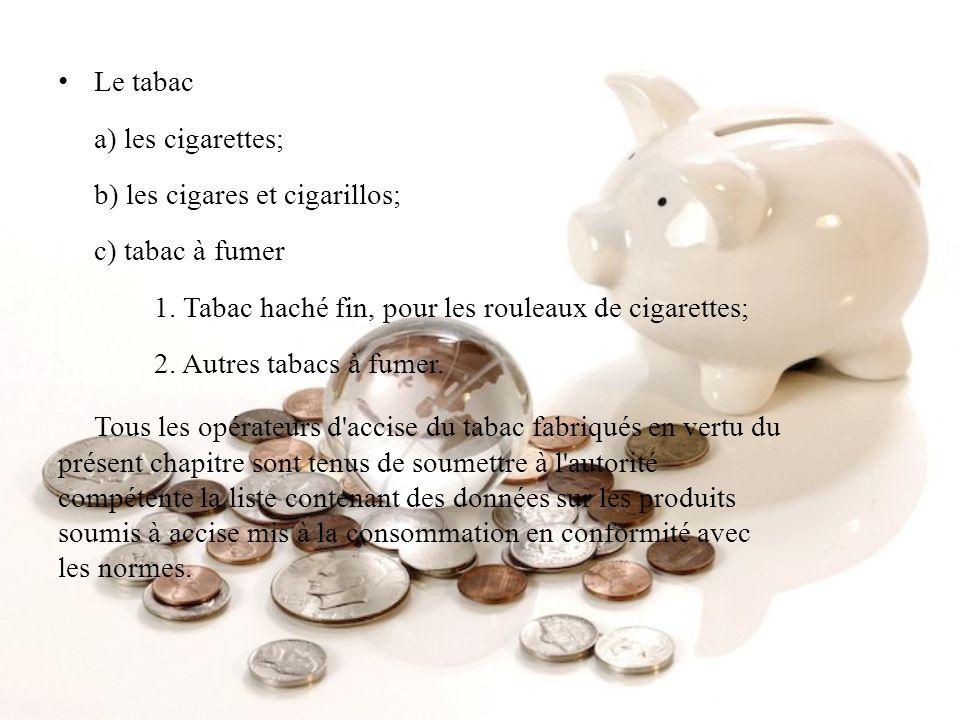 Le tabac a) les cigarettes; b) les cigares et cigarillos; c) tabac à fumer 1. Tabac haché fin, pour les rouleaux de cigarettes; 2. Autres tabacs à fum