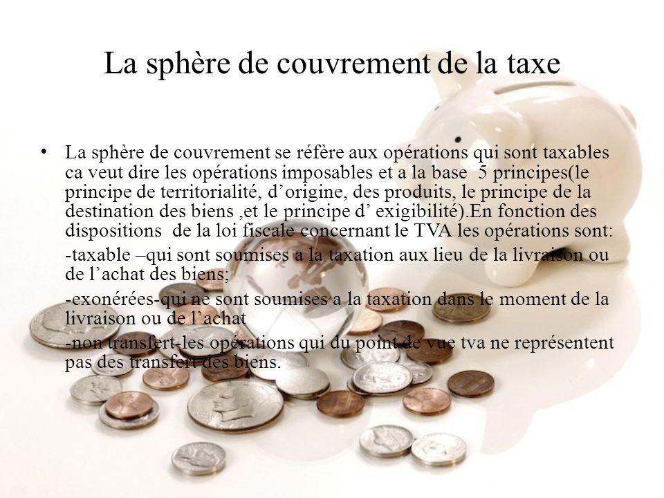 La sphère de couvrement de la taxe La sphère de couvrement se réfère aux opérations qui sont taxables ca veut dire les opérations imposables et a la b