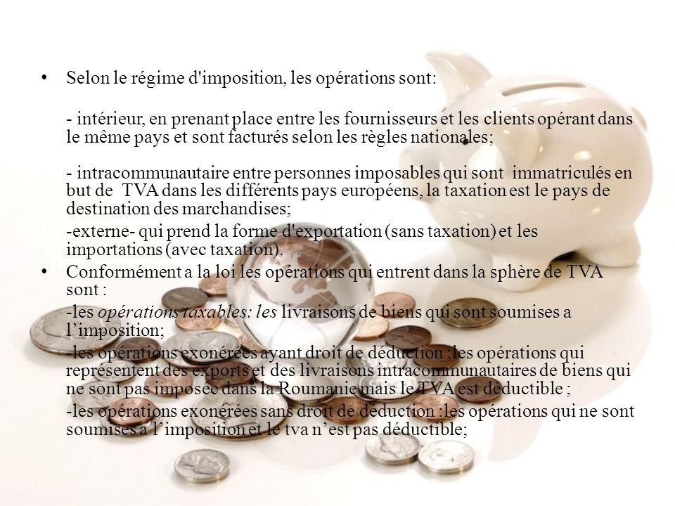 Selon le régime d'imposition, les opérations sont: - intérieur, en prenant place entre les fournisseurs et les clients opérant dans le même pays et so