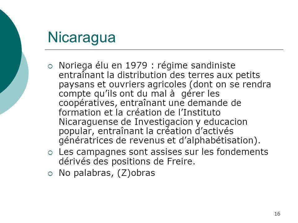 16 Nicaragua Noriega élu en 1979 : régime sandiniste entraînant la distribution des terres aux petits paysans et ouvriers agricoles (dont on se rendra