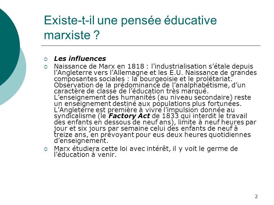 2 Existe-t-il une pensée éducative marxiste ? Les influences Naissance de Marx en 1818 : lindustrialisation sétale depuis lAngleterre vers lAllemagne