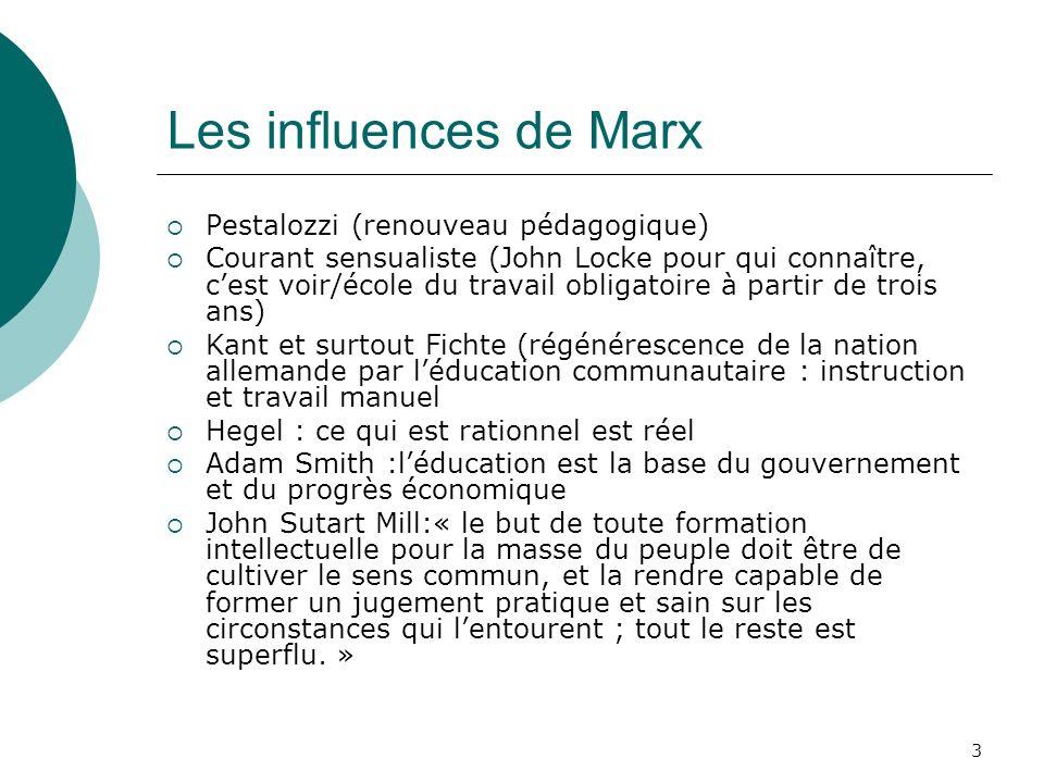 3 Les influences de Marx Pestalozzi (renouveau pédagogique) Courant sensualiste (John Locke pour qui connaître, cest voir/école du travail obligatoire