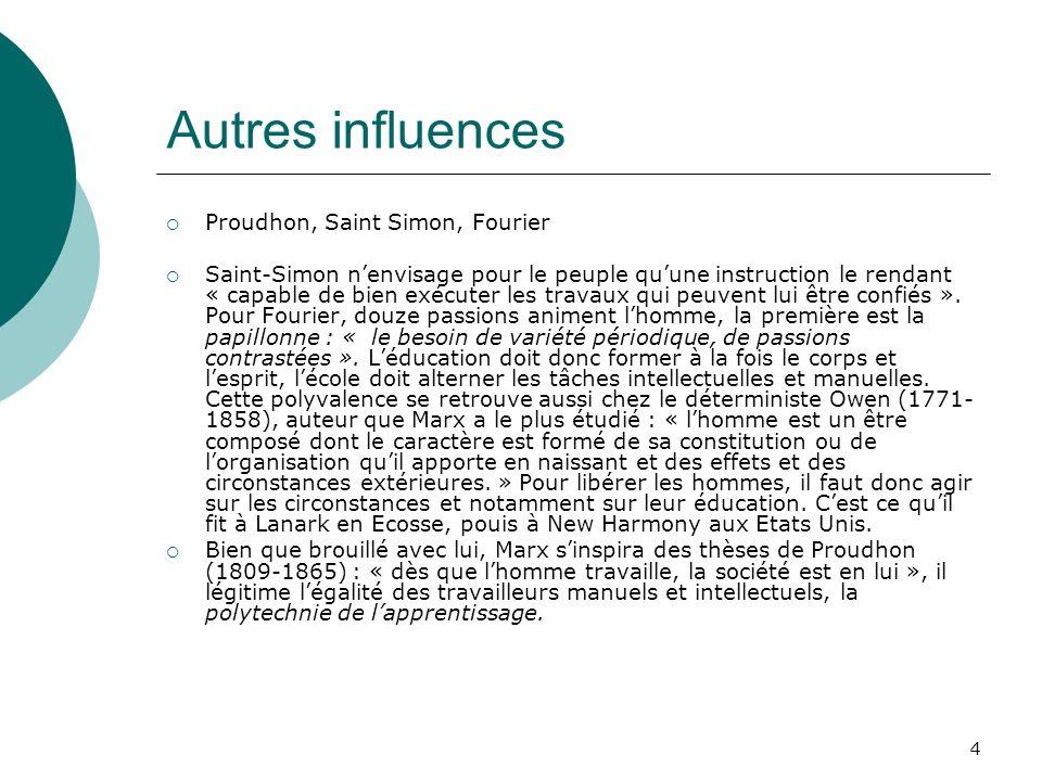 4 Autres influences Proudhon, Saint Simon, Fourier Saint-Simon nenvisage pour le peuple quune instruction le rendant « capable de bien exécuter les tr
