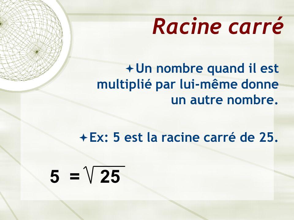 Racine carré Un nombre quand il est multiplié par lui-même donne un autre nombre. Ex: 5 est la racine carré de 25. 5 = 25