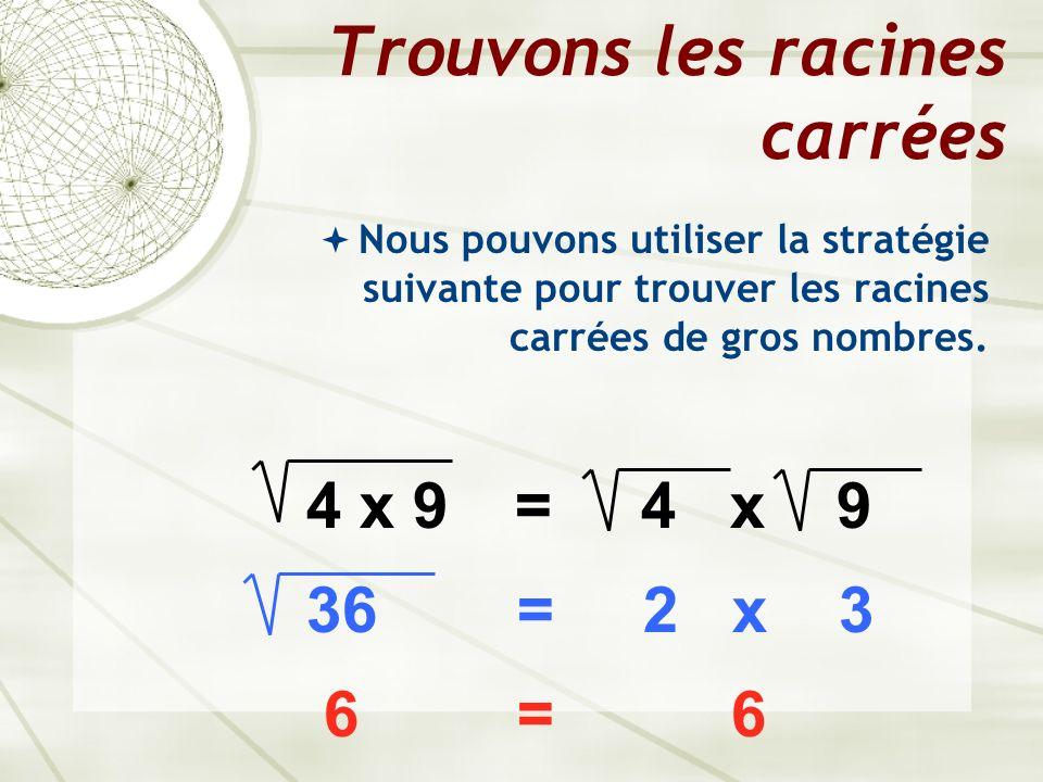 Trouvons les racines carrées Nous pouvons utiliser la stratégie suivante pour trouver les racines carrées de gros nombres. 4 x 9= 4 x 9 36 = 2 x 3 6 =