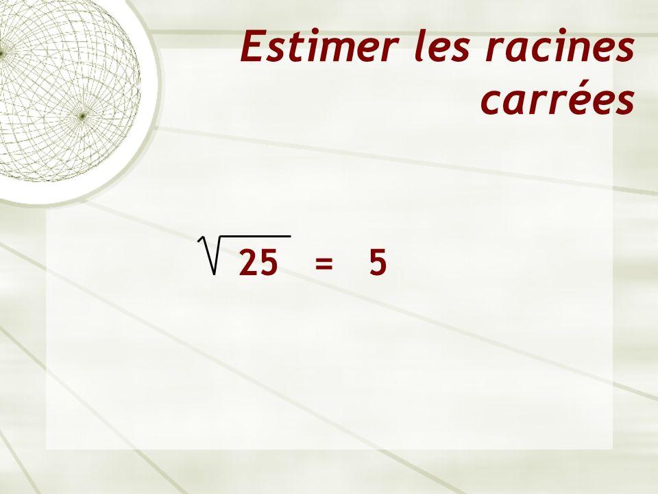 Estimer les racines carrées 25 = 5