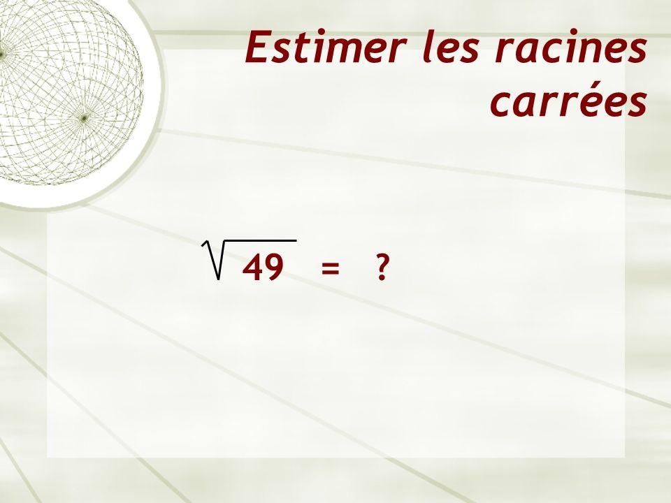 Estimer les racines carrées 49 = ?