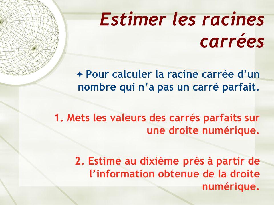 Estimer les racines carrées Pour calculer la racine carrée dun nombre qui na pas un carré parfait. 1. Mets les valeurs des carrés parfaits sur une dro