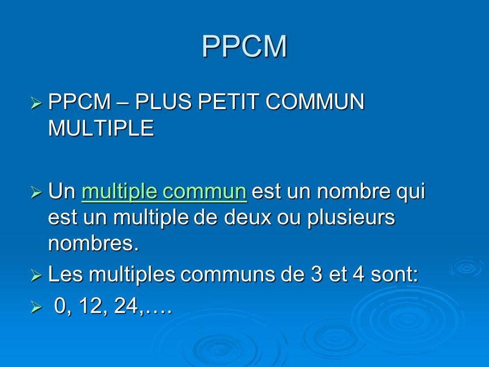PPCM PPCM – PLUS PETIT COMMUN MULTIPLE PPCM – PLUS PETIT COMMUN MULTIPLE Un multiple commun est un nombre qui est un multiple de deux ou plusieurs nom